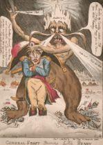 "William Elmes (act.1804-1816) British. ""General Frost Shaveing Little Boney"", Hand Coloured Etching,"