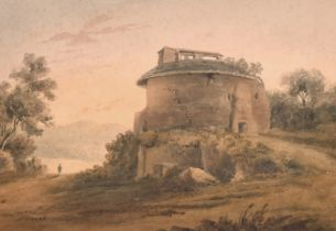 """John Varley (1778-1842) British. """"The Mausoleum, Brocklesby Park, Lincolnshire (the Earl"""