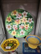 Maling porcelain lustre charger in daffodil pattern, shelley Comport together with Poole pottery