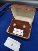9ct Gold Diamond & Emerald Ear Rings In Original Box.