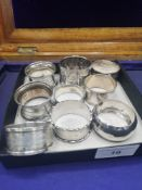 Collection of silver Hall marked napkin rings 133 grams..