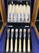 Silver Hall marked sheffield bladed and collard forks and knifes with ivory handles. Maker CB&S.