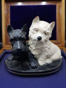 Scotch whisky Black & White westie dogs advertising display figure.