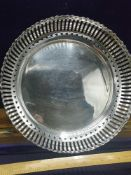 Large silver Hall marked chester pierced bowl markers Cc. 380 grams.. Approximately 22 cm in length.