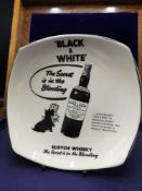 Black & White scotch whisky advertising plate.