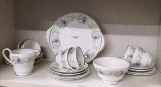 Shelley art deco sycamore design pattern tea set.