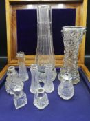 Large collection of silver rimmed bud vases.