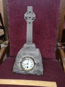 Scottish Celtic stone Cross mantle clock.