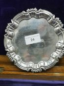 Silver Hall marked sheffield card tray on 3 ball feet. 190 grams maker William Hutton & Sons Ltd