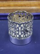 Silver Hall marked cup holder Pierced Floral Pattern.