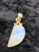 blue moonstone fancy cabochons cut pendant.