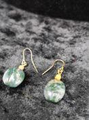 Pair of dendric agate coral earrings.