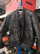 Wolf leather biker jacket. Approx size 40.