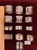 13 Silver Hallmarked Napkin Rings 282 Grams.