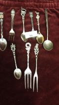Selection of contential white metal spoons etc. 115 grams.