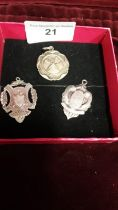 3 silver Hall marked fobs.