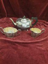 Silver Hall marked birmingham tea set makers BBS ltd. 917 grams.