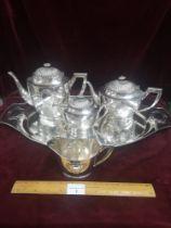 Contential White Metal 4 piece art nouveau tea set includes tray. 2930g