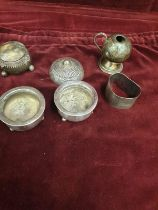 Selection of hall marked and contential silver cruets napkin rings etc. 146 grams.