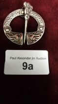 Glasgow silver Hall marked celtic plaid brooch makers Robert alison.