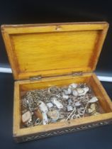 Mother of pearl inlaid box with jewellery contents.