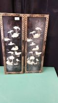 Pair Of Oriental Mother Of Pearl Plaques