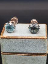 Pair of 9ct gold aquamarine stone earrings.