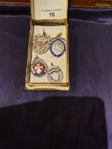 4 Silver Hallmarked Fobs 2 With Enamel 1 With Gold Shield Front
