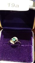 Vintage Art Deco Style Silver Ring With Centre Green Stone And Bezel Cut Stones On Shoulders.