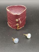 Pair of 9ct gold Australian opal set earrings.