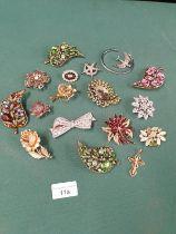 Selection Of Diamante Jewellery Ect