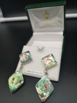 Pair of silver mother of pearl art deco design large earrings.