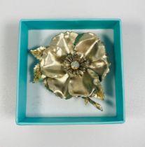 Beautiful large vintage flower design statement brooch with centre aurora borealis stone.
