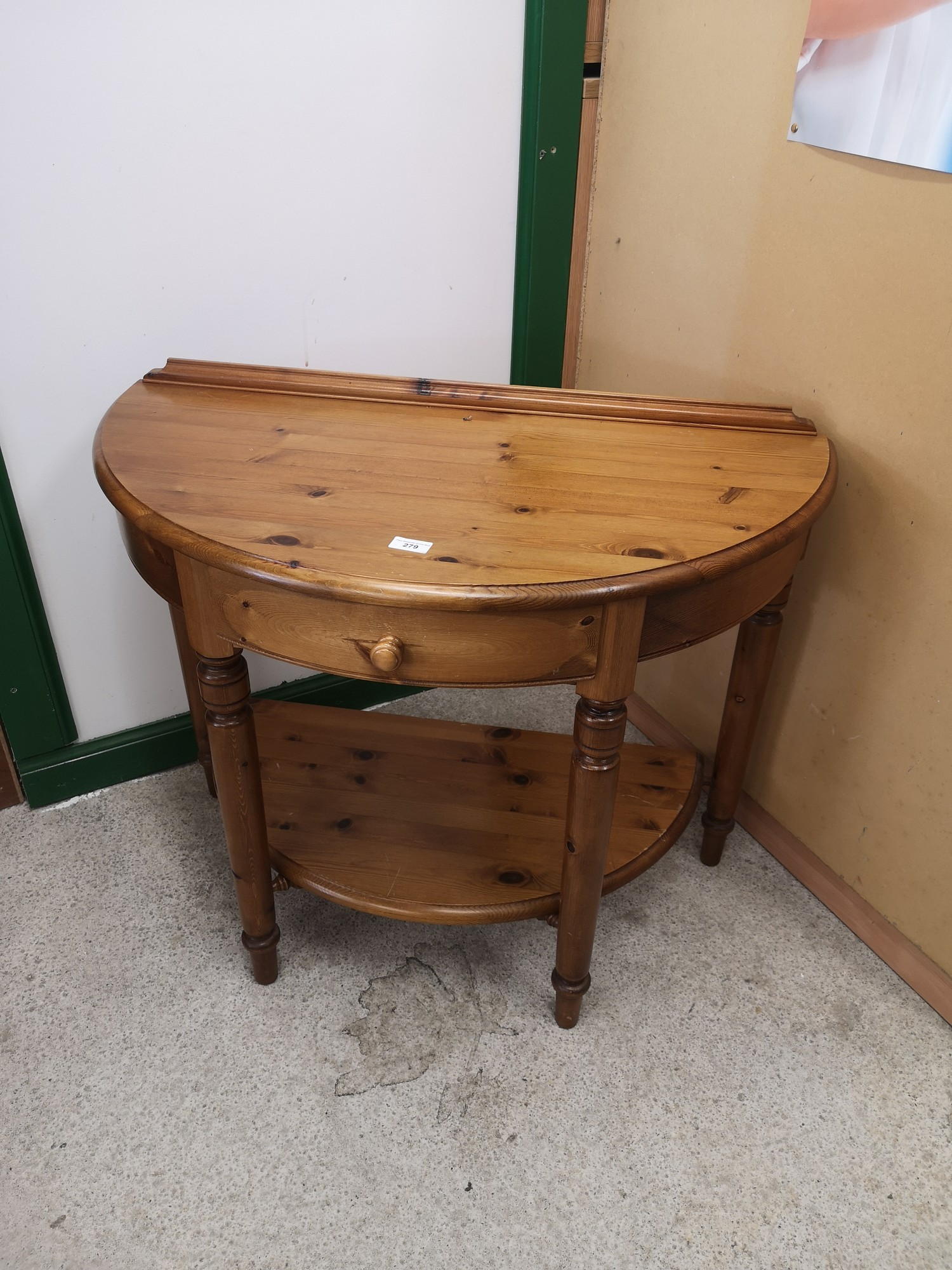 Pine ducal 1 drawer Hall moon console table.