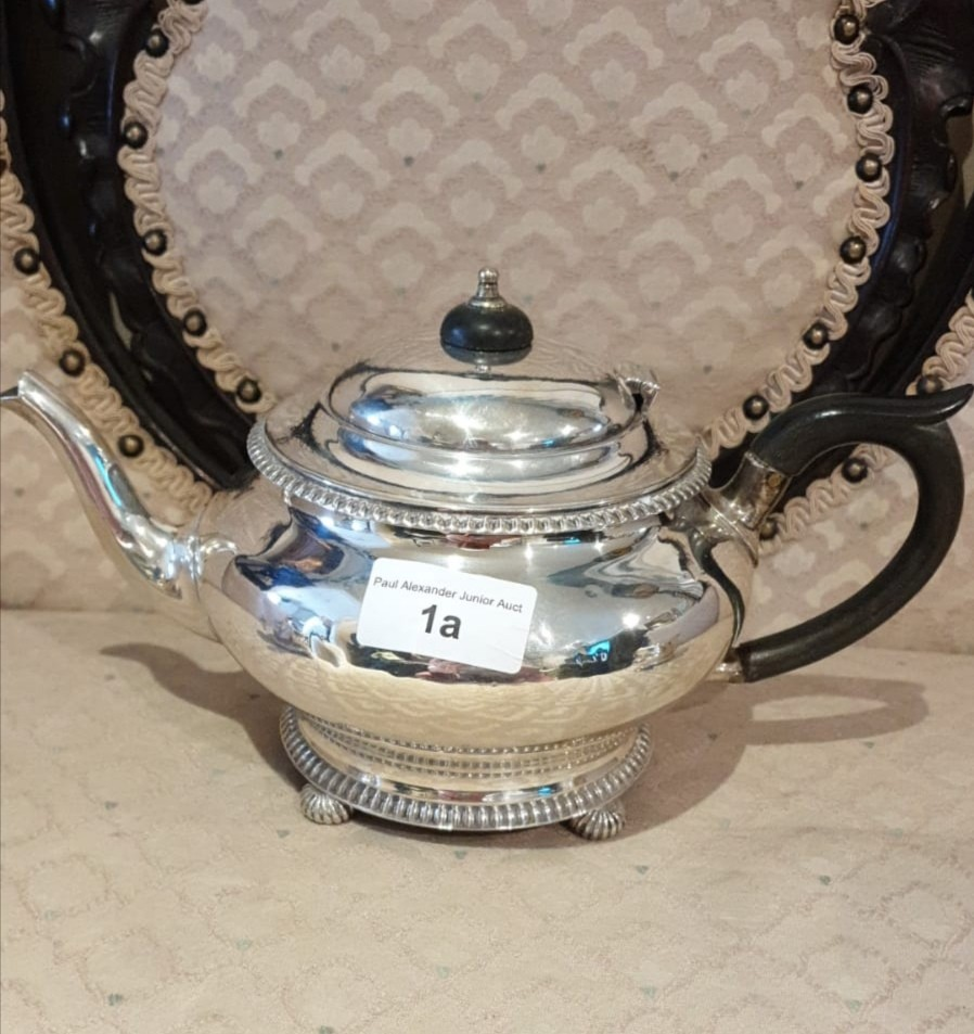 3 piece silver Hall marked tea service on pad feet serrated edges to top and bottom. 900 grams. - Image 3 of 3