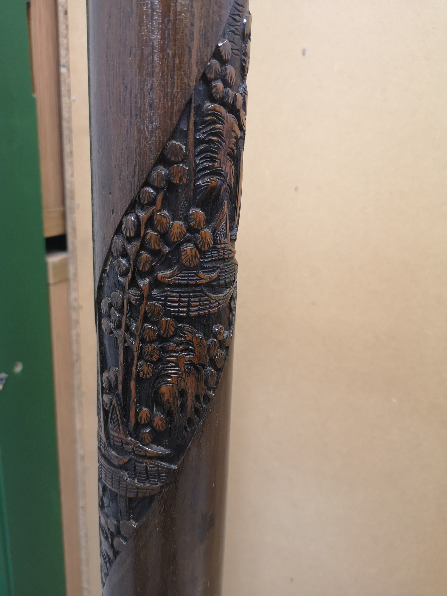 Carved 1900s Oriental carved heavy standard lamp. - Image 4 of 5