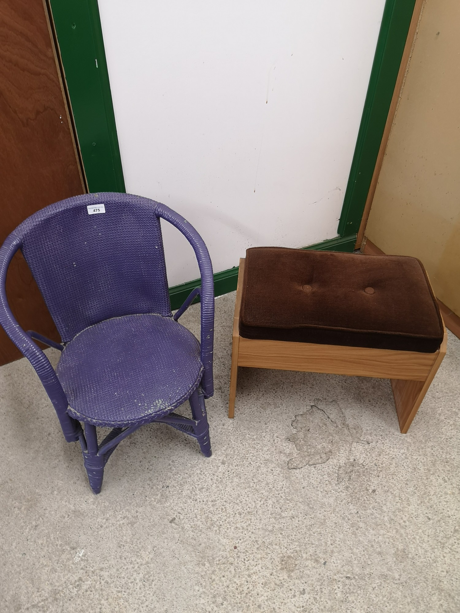 Small contempory stool together with purple wicker chair.