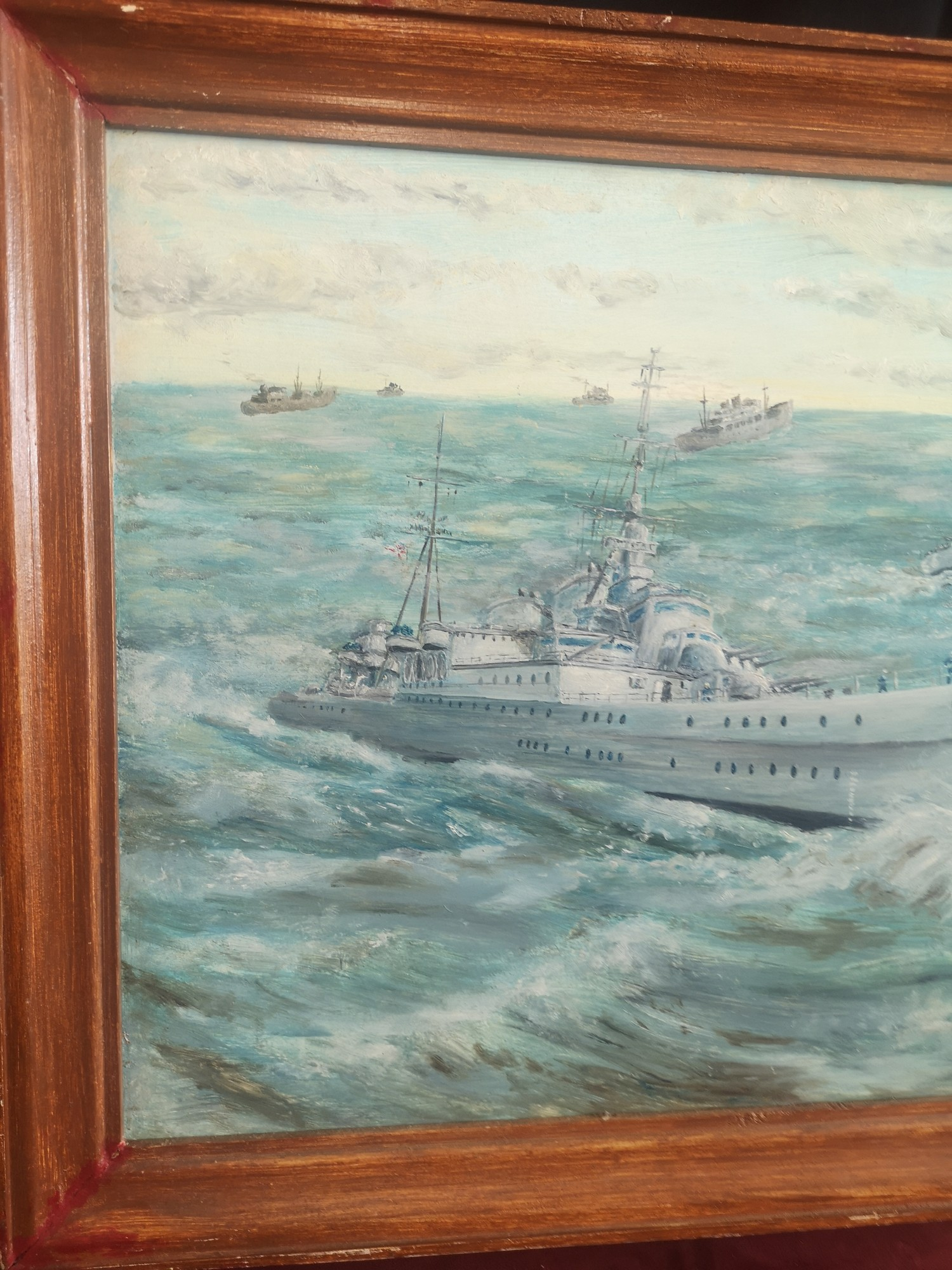 Large oil Painting depicting Royal navy war ships signed K H Locket. 22 inches in length by 18 - Image 2 of 4