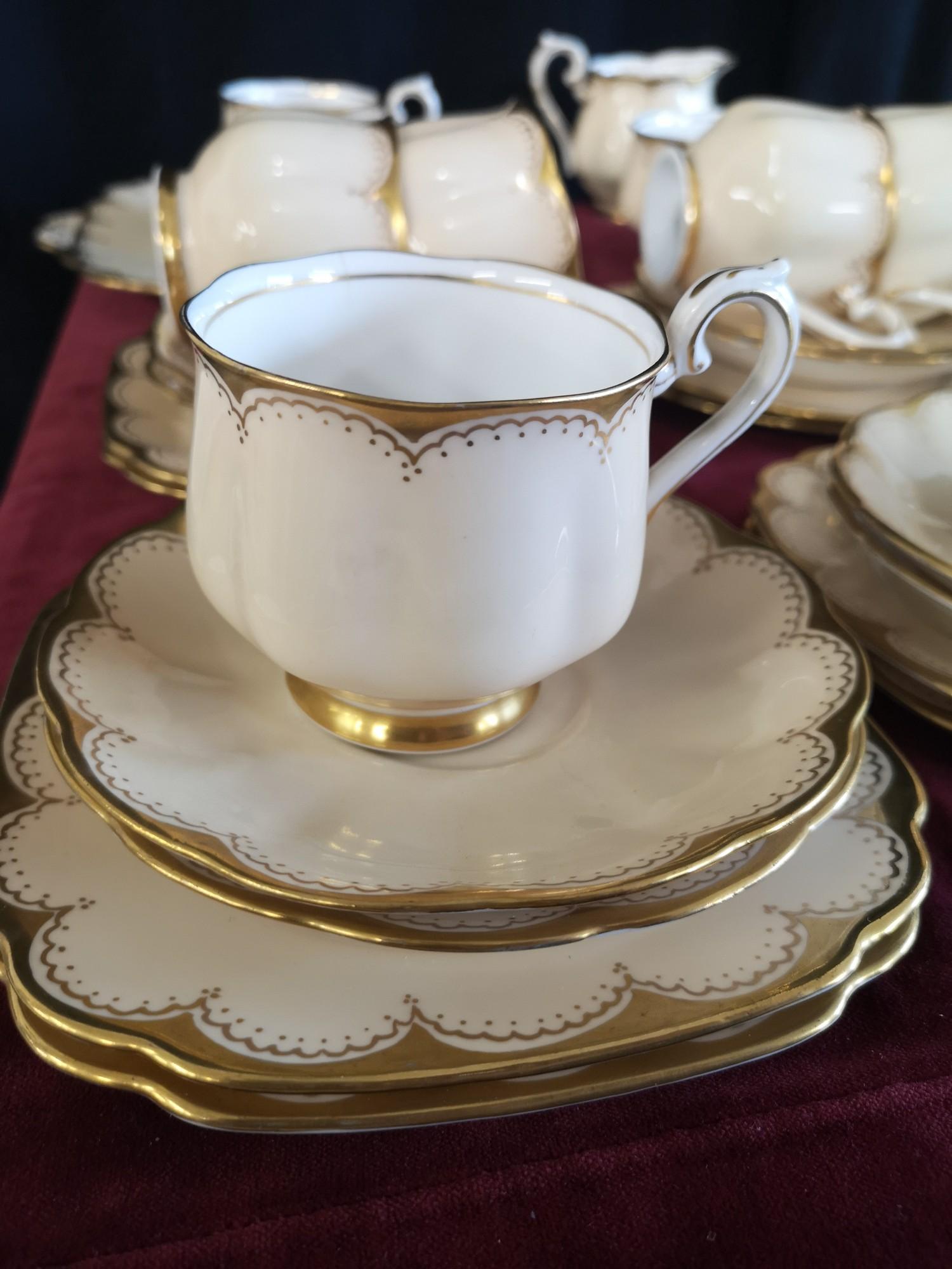 Large 1900s Royal Albert gilt tea set, set in cream back ground. - Image 10 of 10