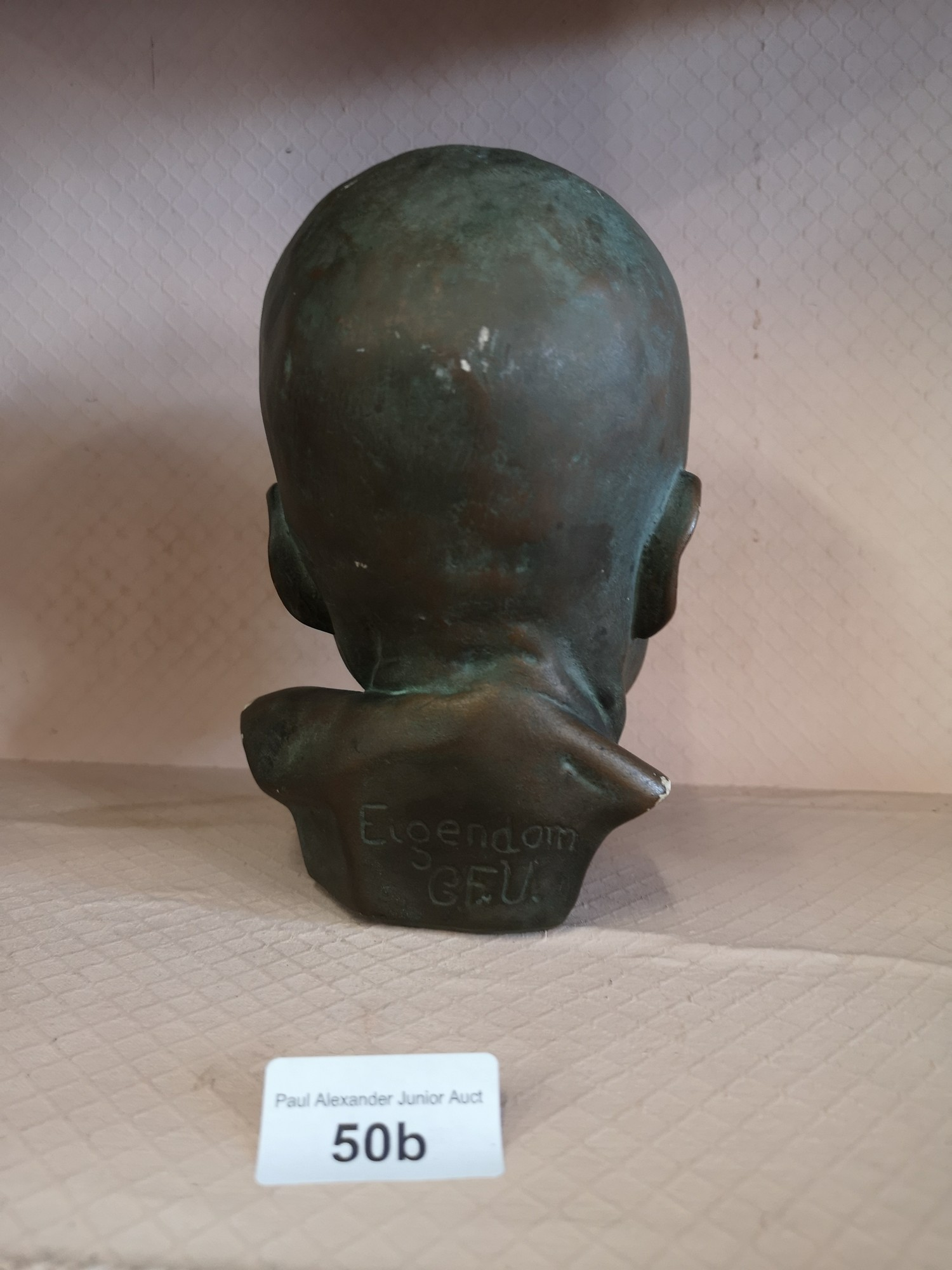 Eigendorn signed sculpture head with GFU intials. - Image 4 of 5