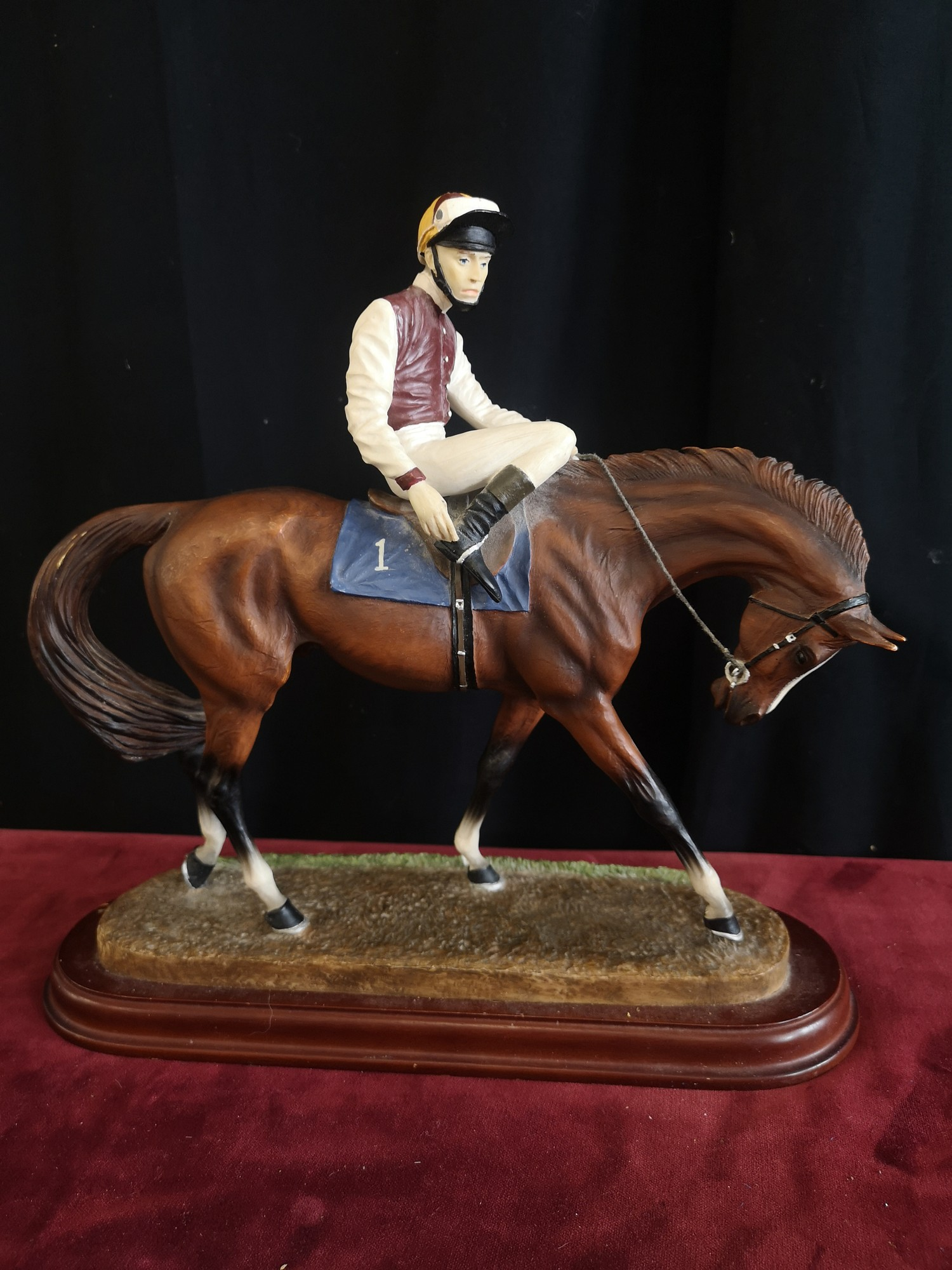 Signed John skeating limited edition horse with Jockey on plinth.