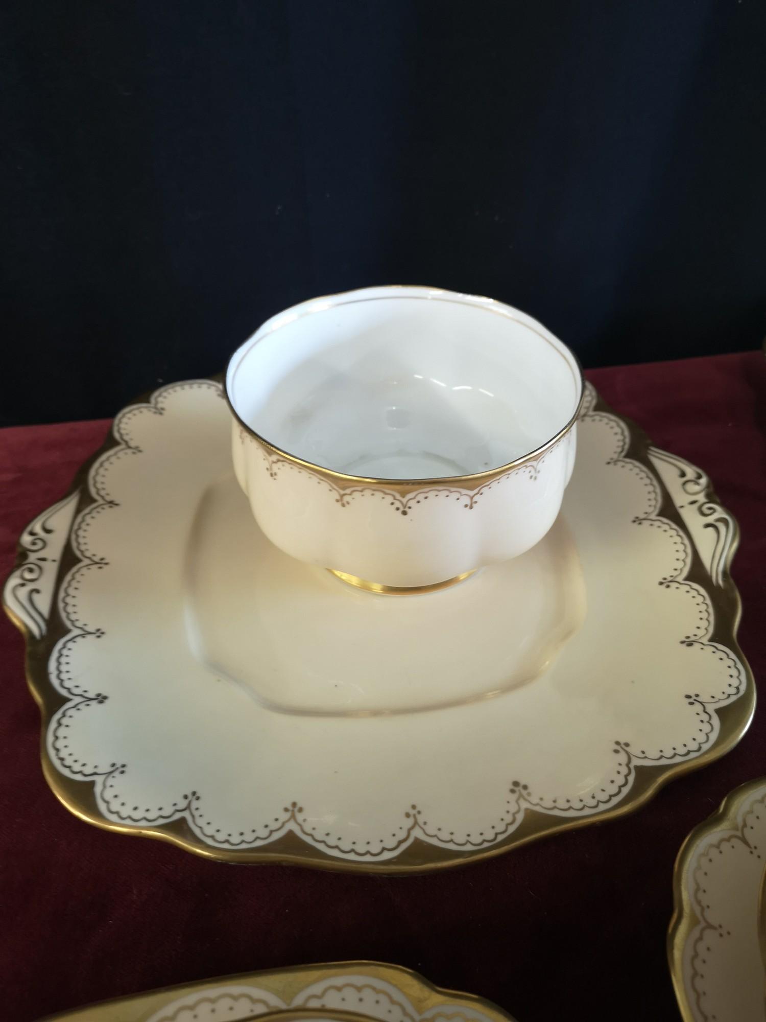 Large 1900s Royal Albert gilt tea set, set in cream back ground. - Image 4 of 10
