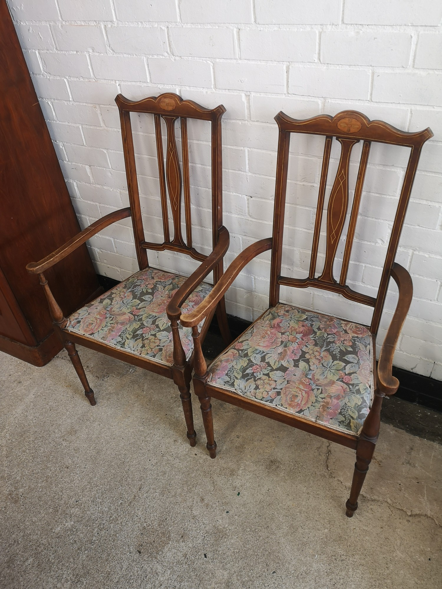 Pair of beautiful Edwardian arm chairs with inlays to backing.