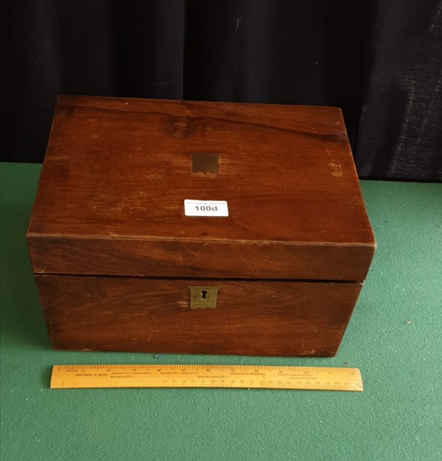 Victorian Writing Slope With Fitted Interior To Include Ink Well And Key - Image 2 of 3