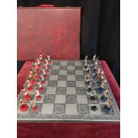 Lead miltary handpainted chess set with board.