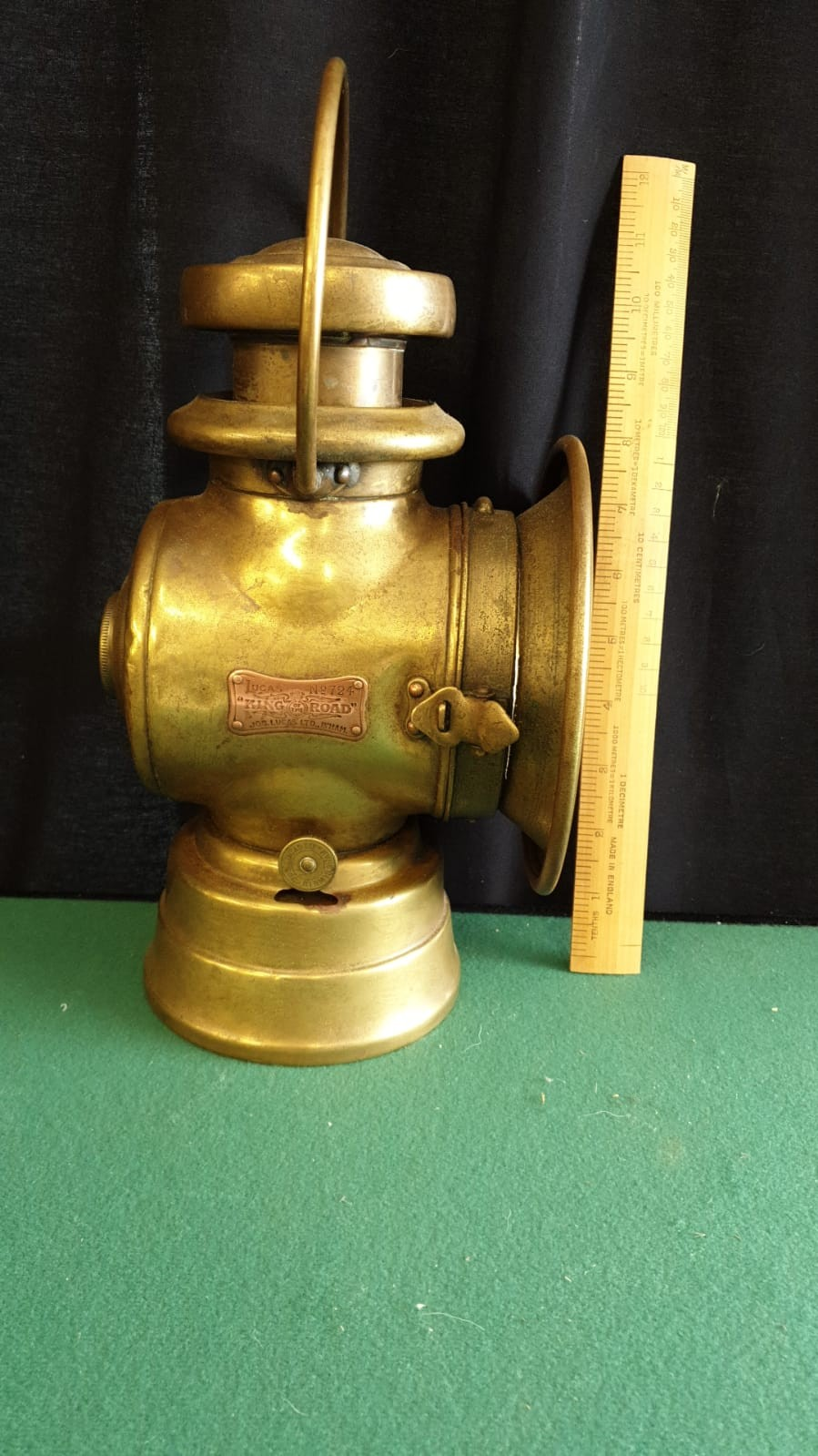 Large Lucas King Of The Road Vintage Motor Car Side Oil Lamp No 724 Height 32cms - Image 2 of 3