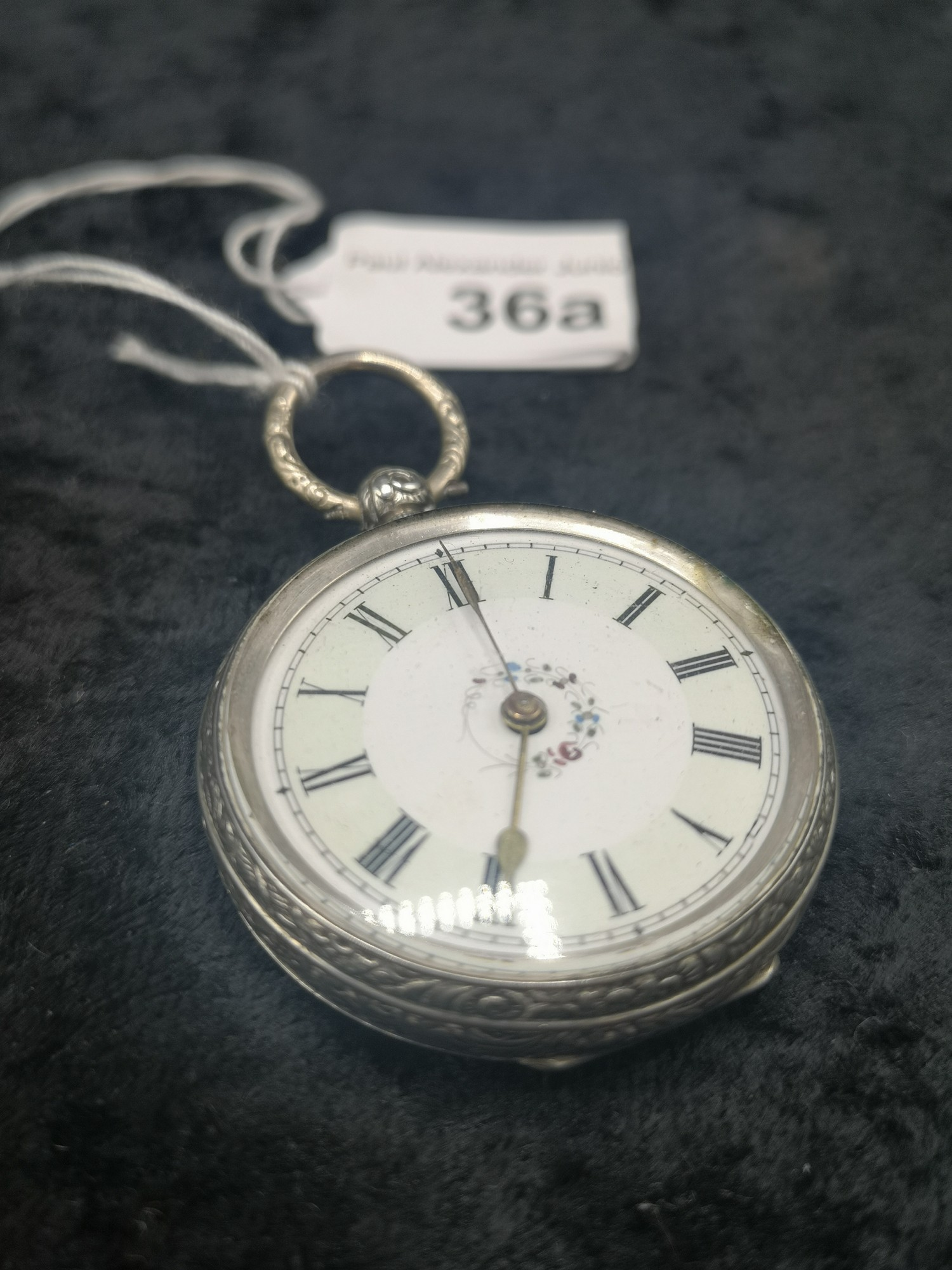 Ladies Silver Pocket Watch With Enamel Face With Floral Centre Decoration