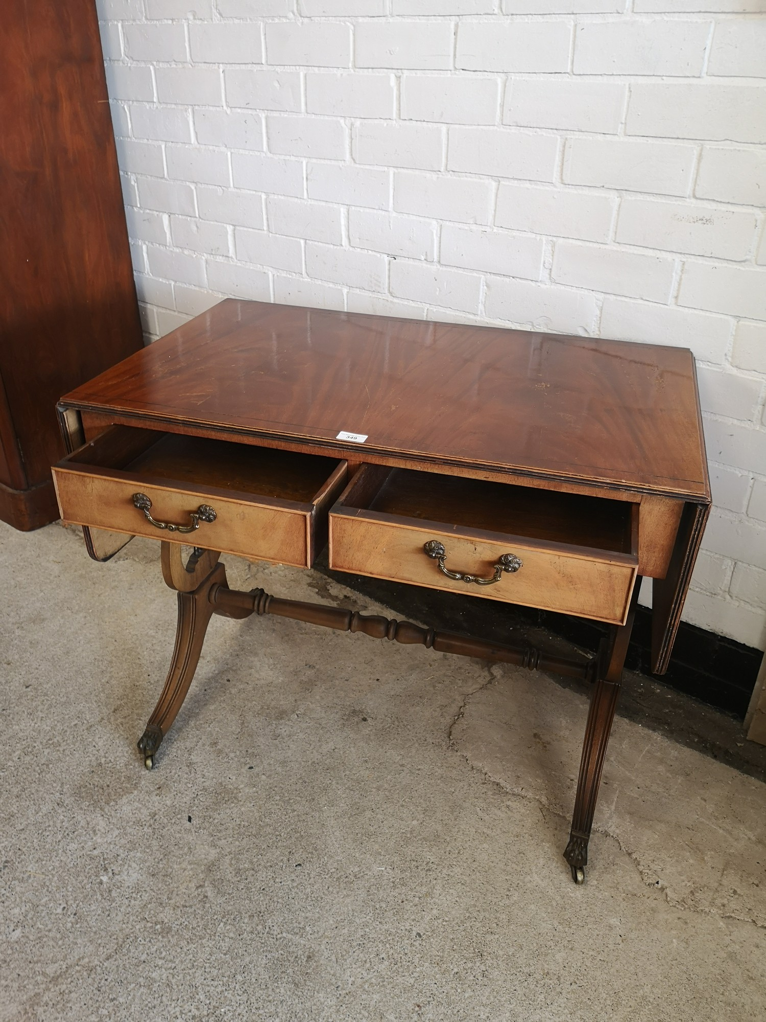 Reproduction drop leaf liar end table with 2 drawers. 5ft extended out with leafs in length. - Image 3 of 7