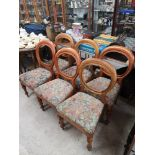 Set of 6 victorian ball back chairs.