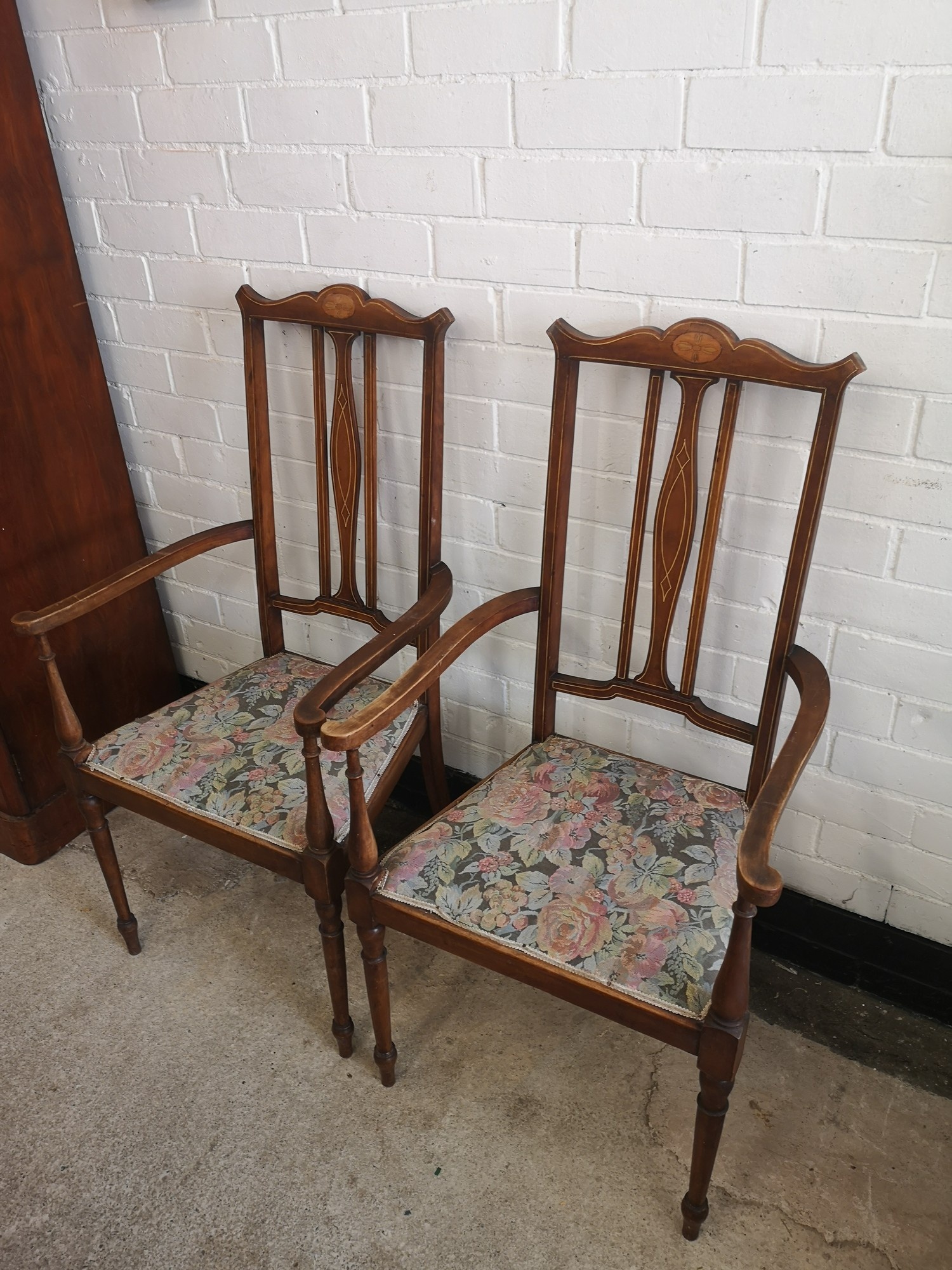 Pair of beautiful Edwardian arm chairs with inlays to backing. - Image 2 of 4
